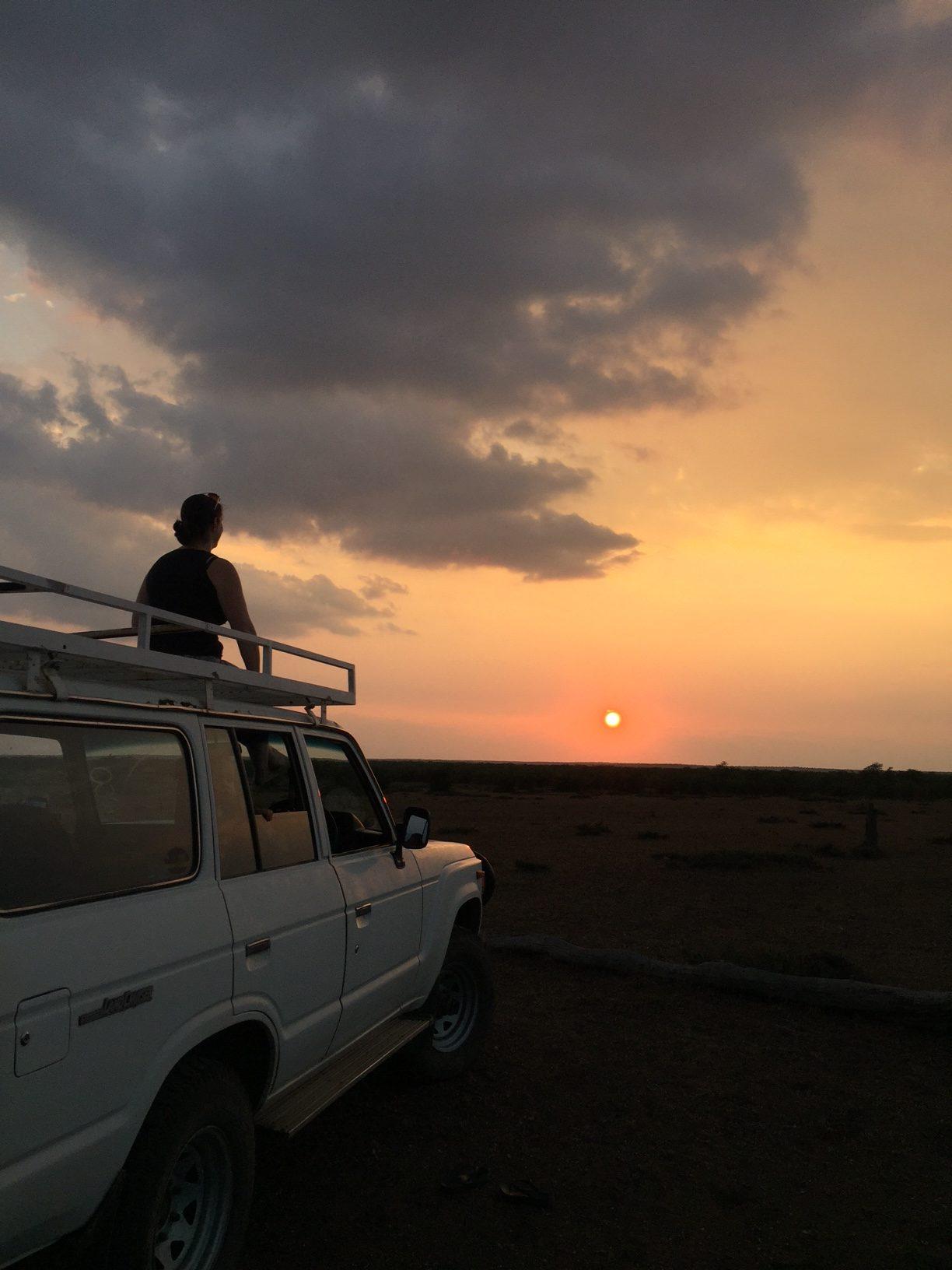 Admiring the sunset over Kruger